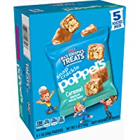 Kellogg's Rice Krispies Treats Snap, Crackle, Poppers, Crispy Marshmallow Squares, Caramel, 5oz Carton (Pack of 5, 25 pouches)
