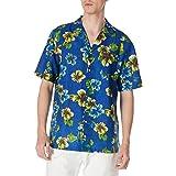 Isle Bay Linens Men's Relaxed-Fit Printed Linen Cotton Tropical Hawaiian Casual Shirt