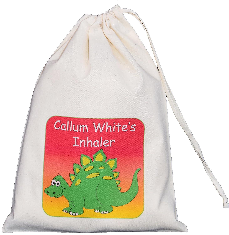 Personalised - Inhaler & Spacer Bag - Dinosaur Design - 25x35cm Natural Cotton Drawstring Bag - EMPTY …