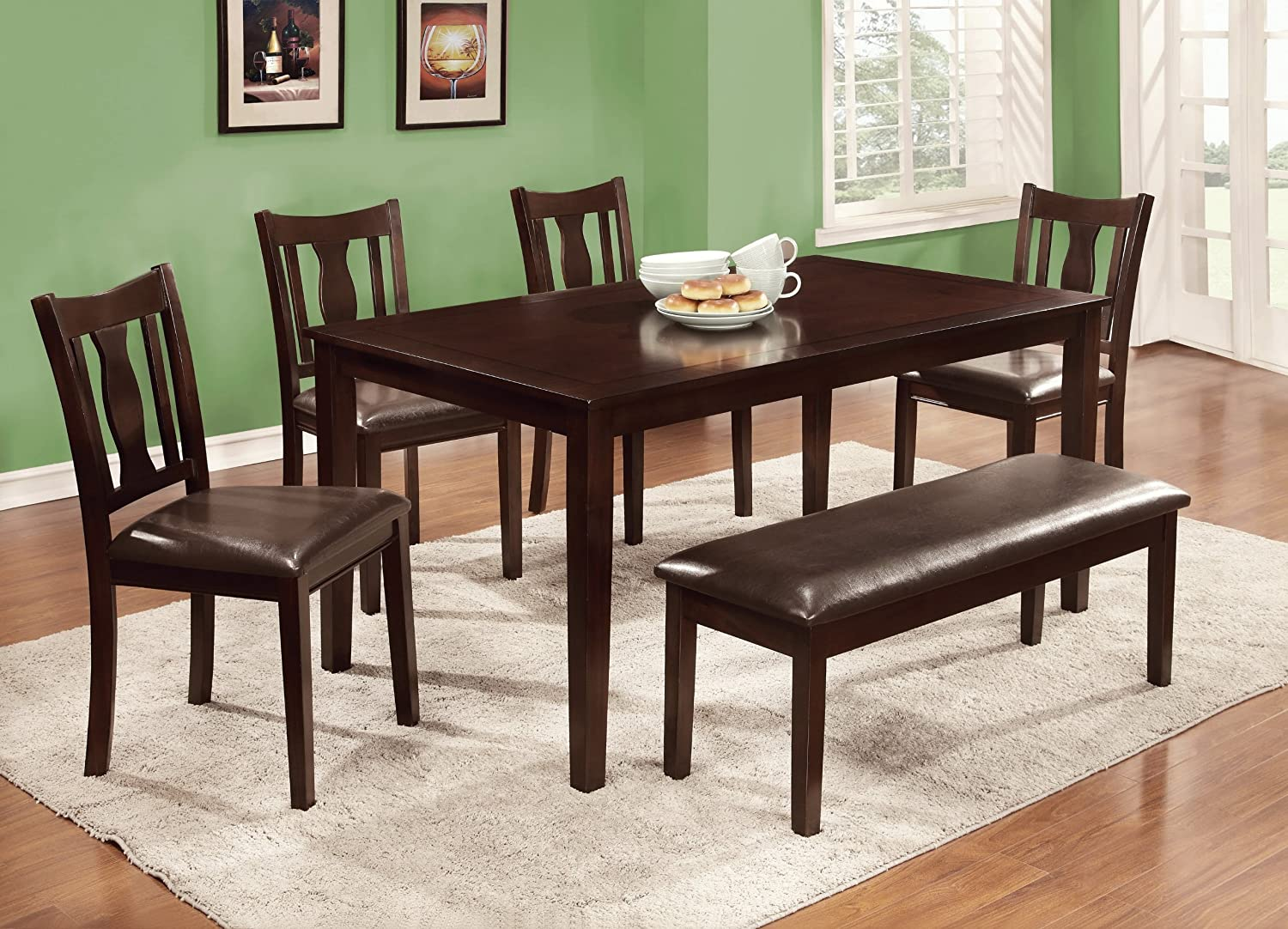 Amazon.com   Furniture Of America Jolene 6 Piece Dining Table Set With  Bench, Espresso Finish   Table U0026 Chair Sets