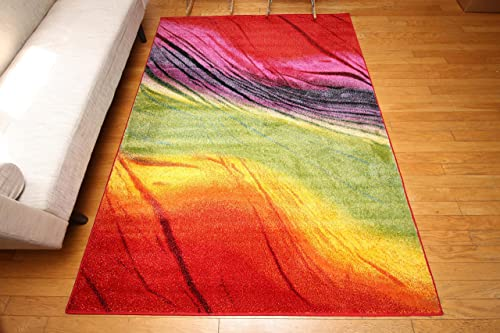 Feraghan Radiance Collection Art Contemporary Collection Modern Lines Gradient Wool Area Rug, 8 x 10 , Yellow Blue Orange Purple