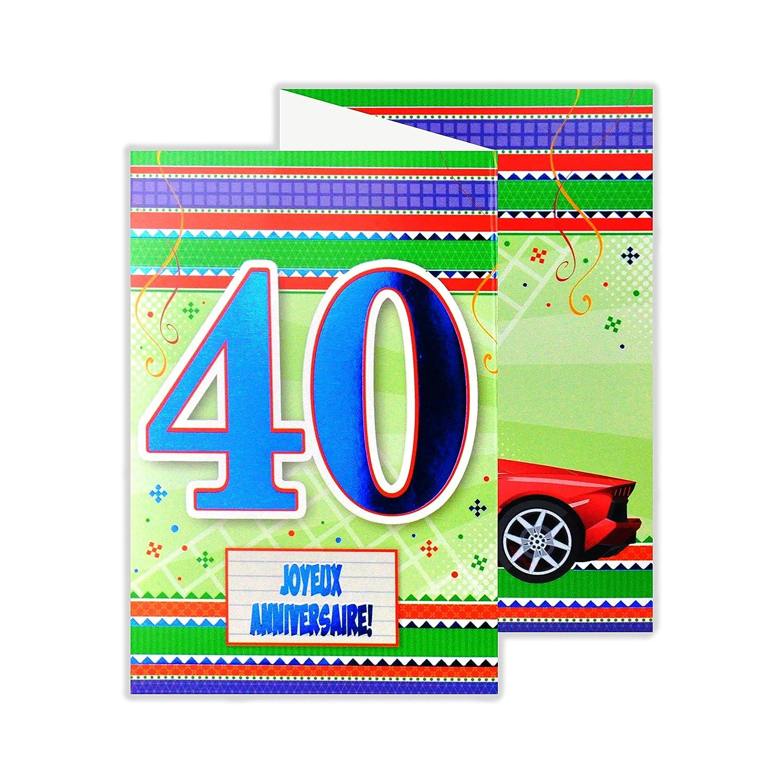 afie 882132 B tarjeta 3 Volets cumpleaños 40 años: Amazon.es ...