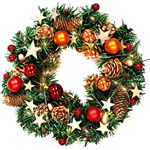 naler christmas wreath 13 inch merry christmas decorated pine wreath with color balls