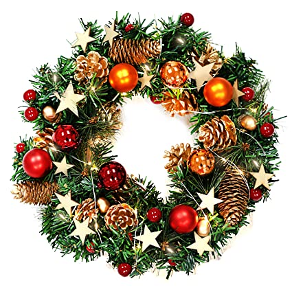 naler christmas wreath 13 inch merry christmas decorated pine wreath with color balls - Battery Operated Christmas Wreaths