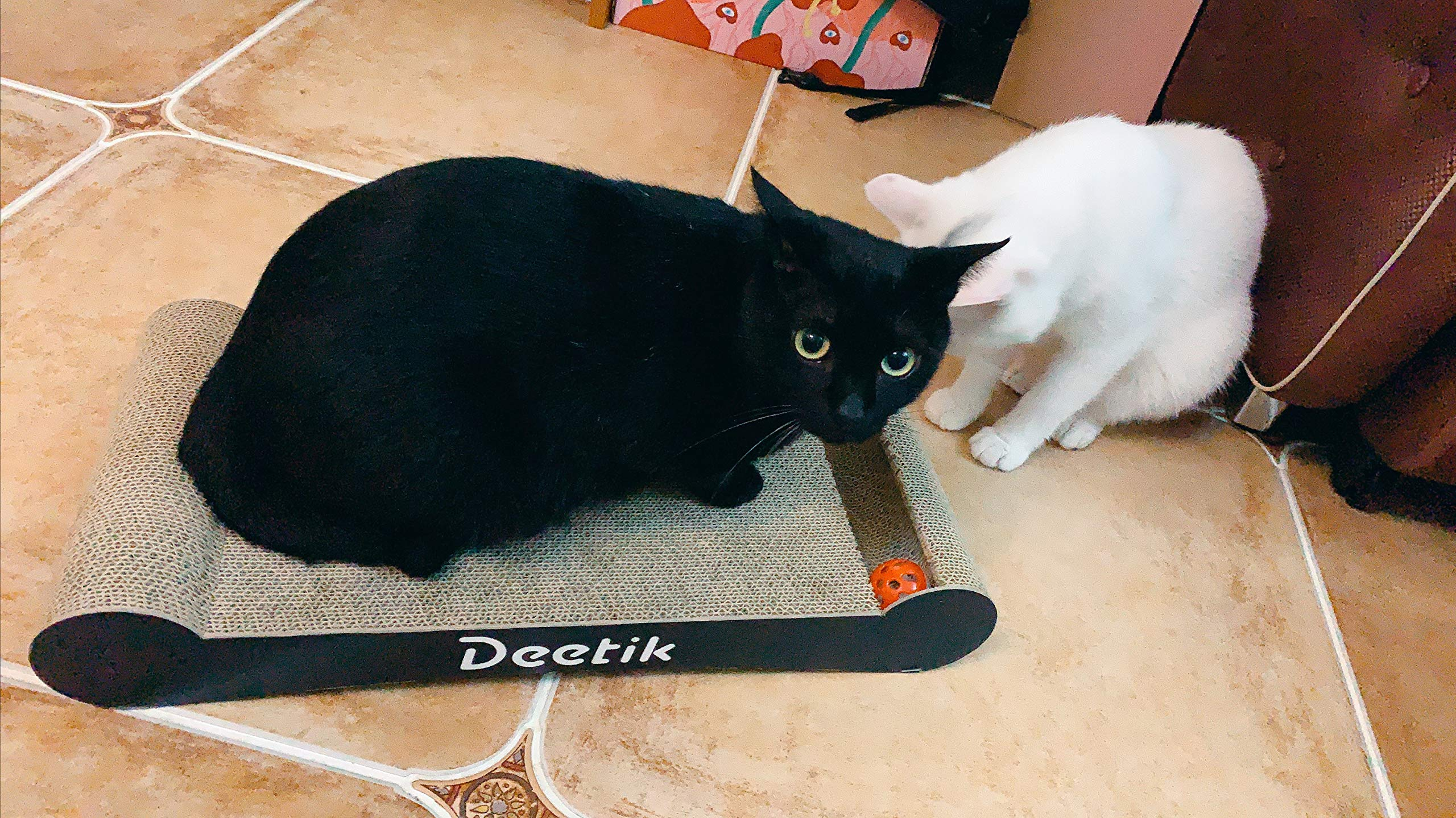 deetik Large Cat Scratcher, Scratching Pad, with Rolling Bell Ball Toy and Catnip, Wide and Durable (Black) by deetik
