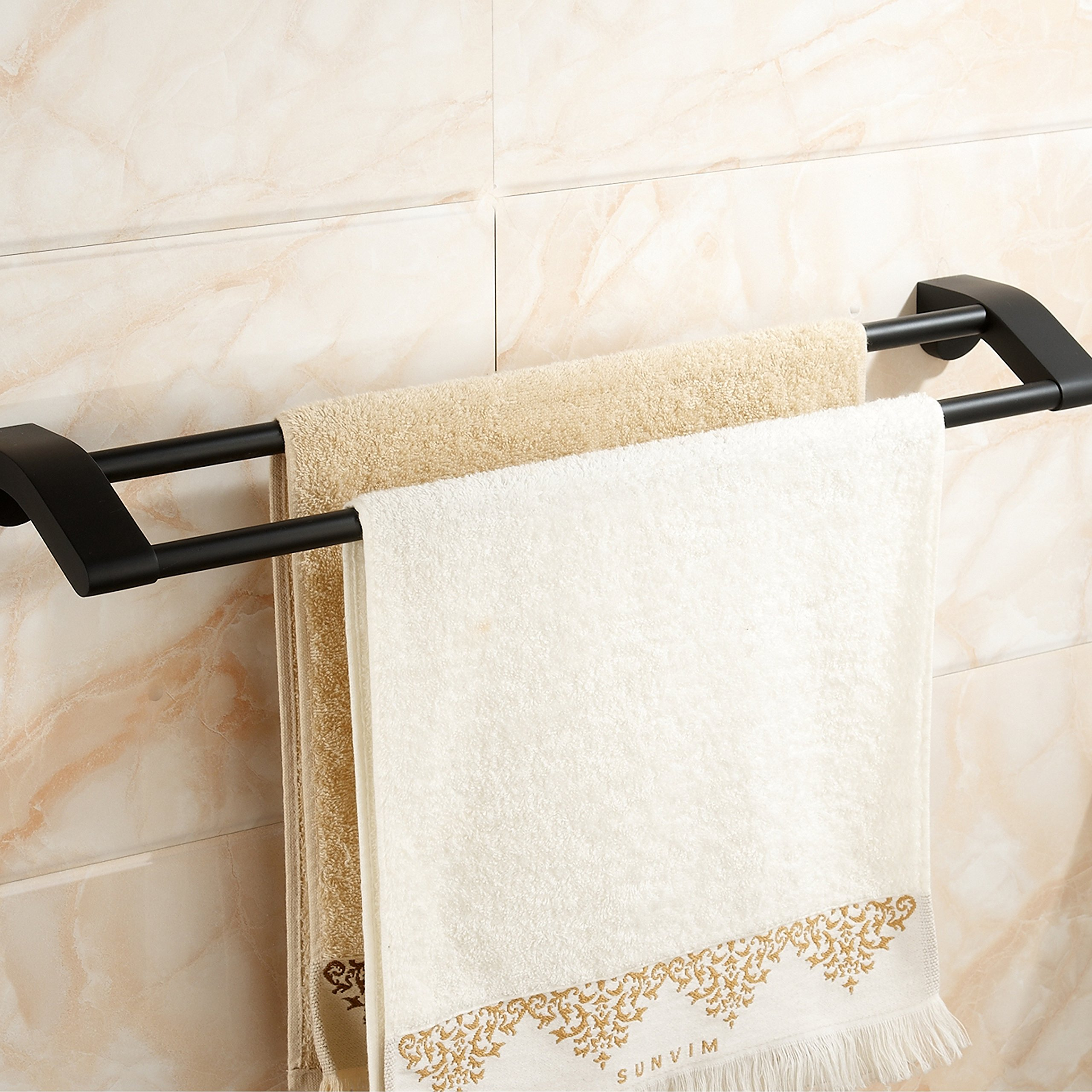 Bathroom Double Towel Bar Rack Bath Hand Towel Holder Contemporary Hotel Towel Bar Hanger Modern Heavy Duty Kitchen Shelf Storage Stainless Steel Wall Mount Satin Matte Black Finish MARMOLUX ACC