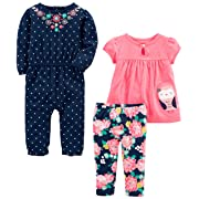 Simple Joys by Carter's Baby Girls' 3-Piece Playwear Set, Pink/Navy Owl, 3-6 Months