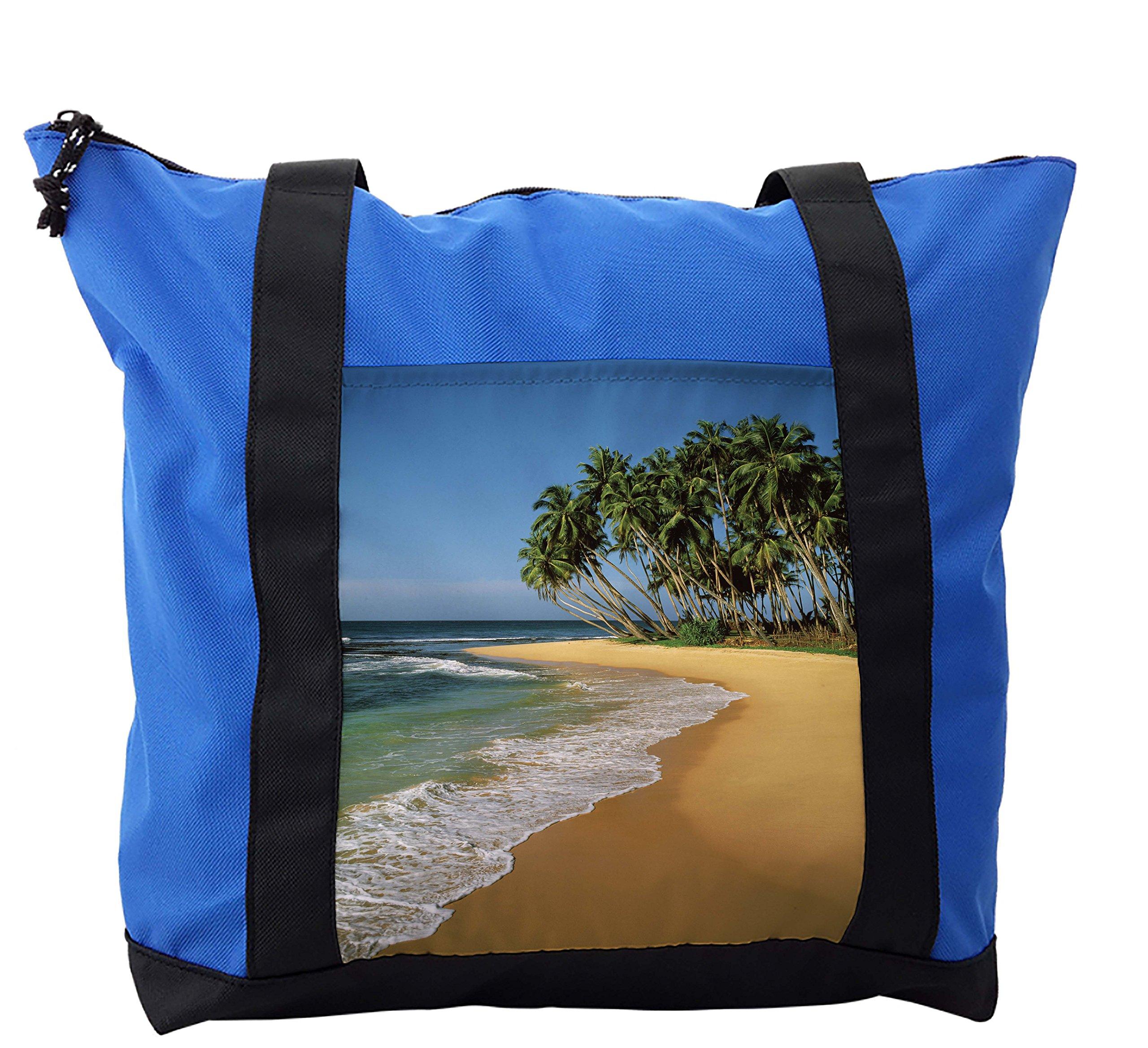 Lunarable Beach Shoulder Bag, Tropic Beach with Palm Trees, Durable with Zipper