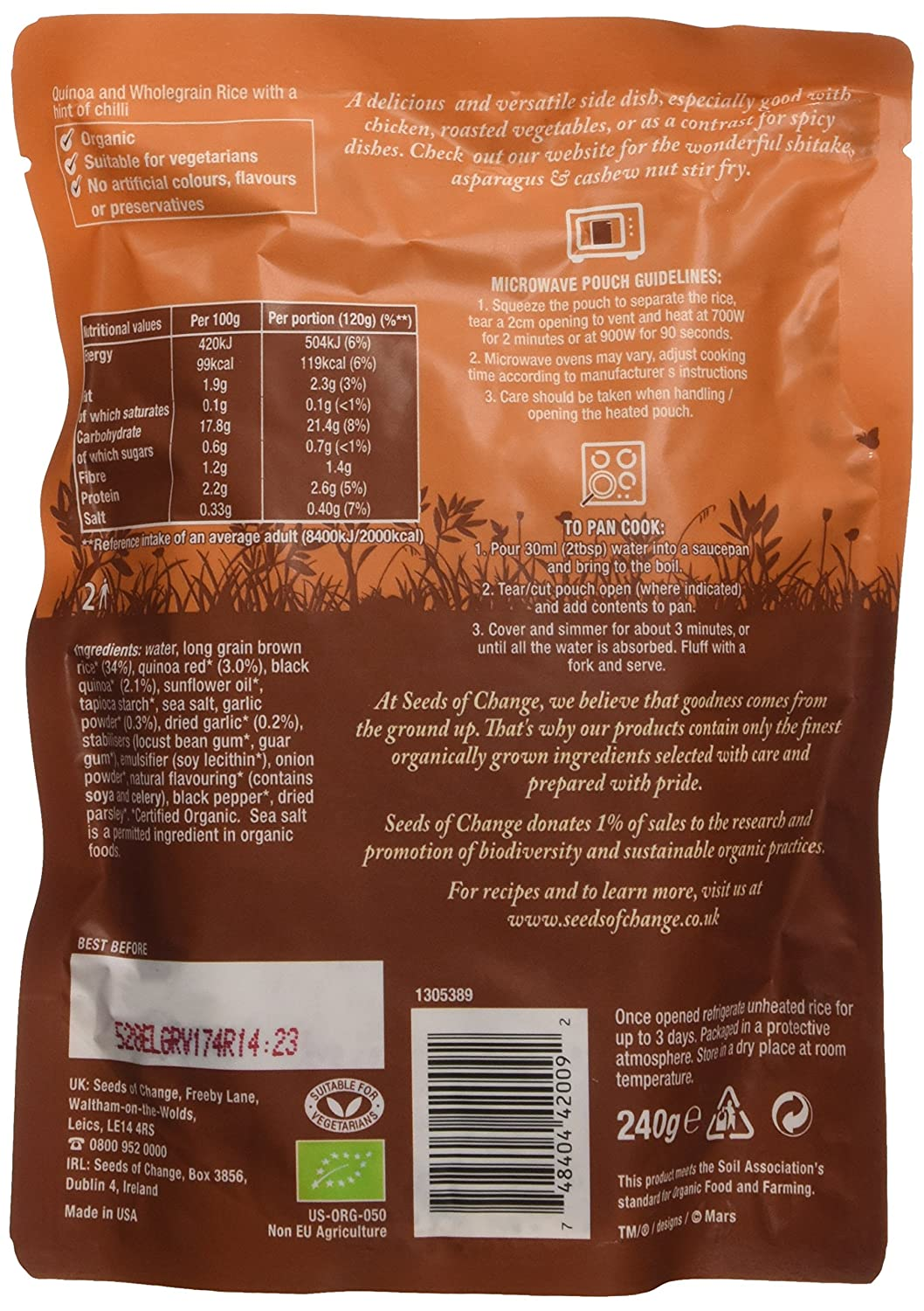 Seeds Of Changeanic Quinoa And Wholegrain Rice With A Hint Of Garlic  240 G (pack Of 6): Amazon: Grocery