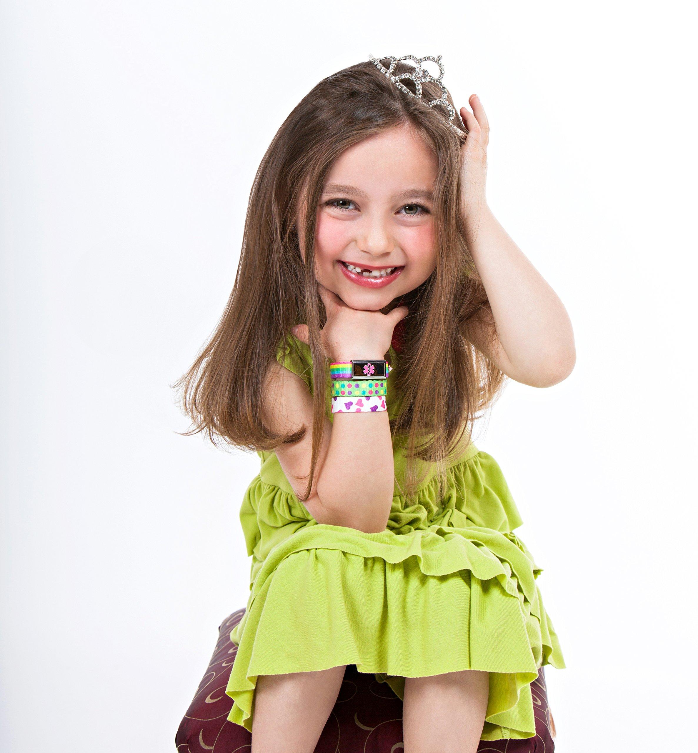 3 Pack Kid's Medical Alert Bracelets | Children's Medical ID Bracelets | Free Engraving | Adjustable | Value Pack (3 Bracelets) - Fire & Camo