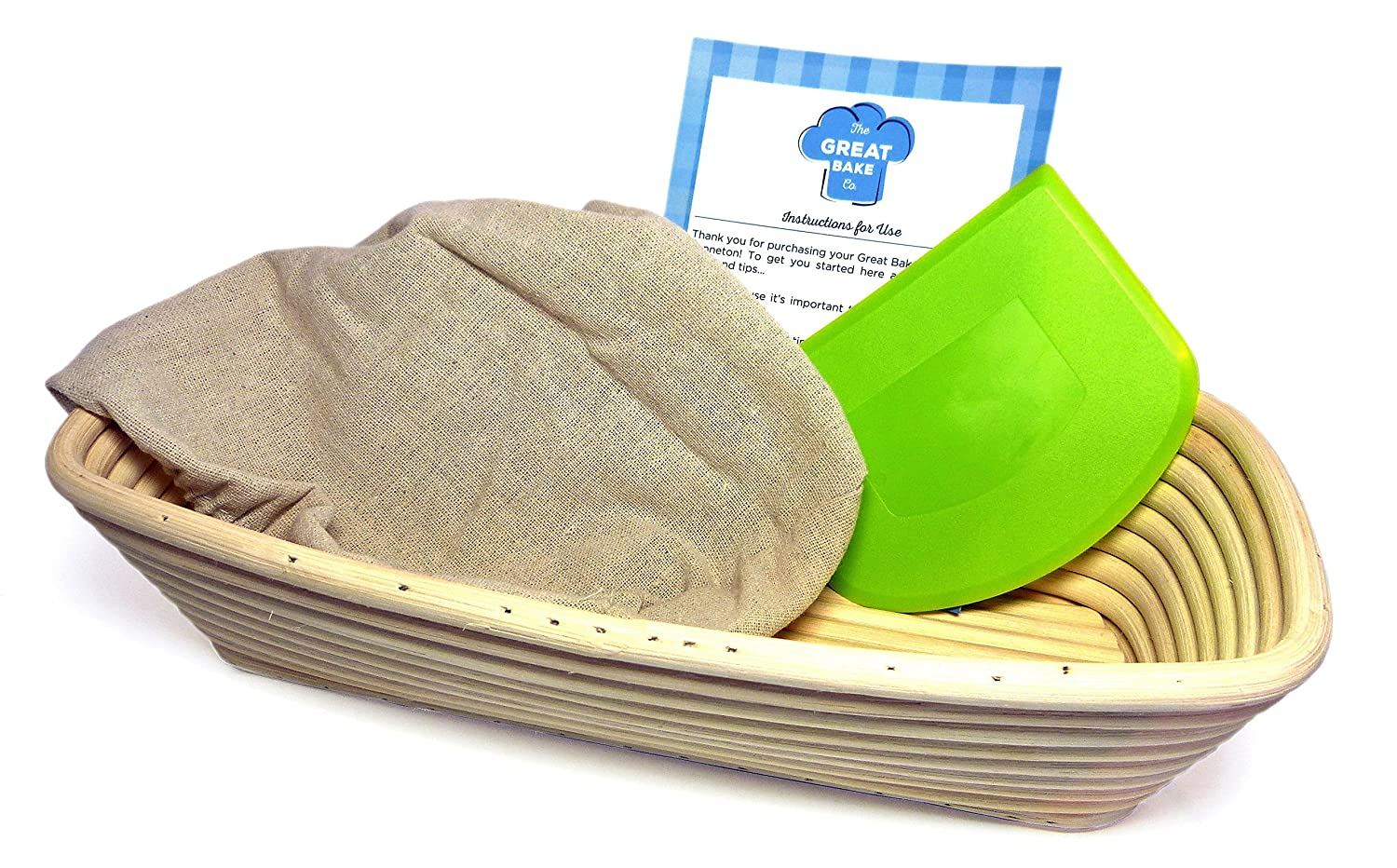 Banneton Proofing Basket Set (4 pieces) - Premium 8.5 Inch Round Bread Proofing Brotform, Dough Scraper, Linen Cloth Liner and Instructions by The Great Bake Co The Great Bake Co. COMIN18JU038899