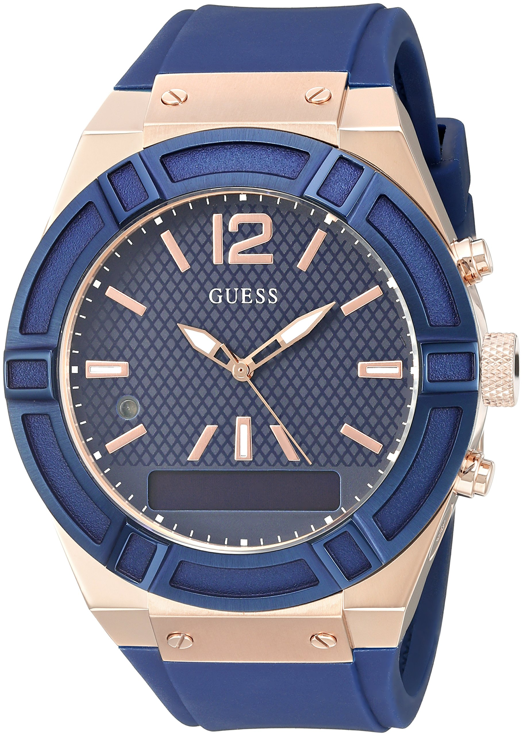 GUESS Men's Stainless Steel Connect Smart Watch - Amazon Alexa, iOS and Android Compatible iOS and Android Compatible, Color: Blue (Model: C0001G1) by GUESS