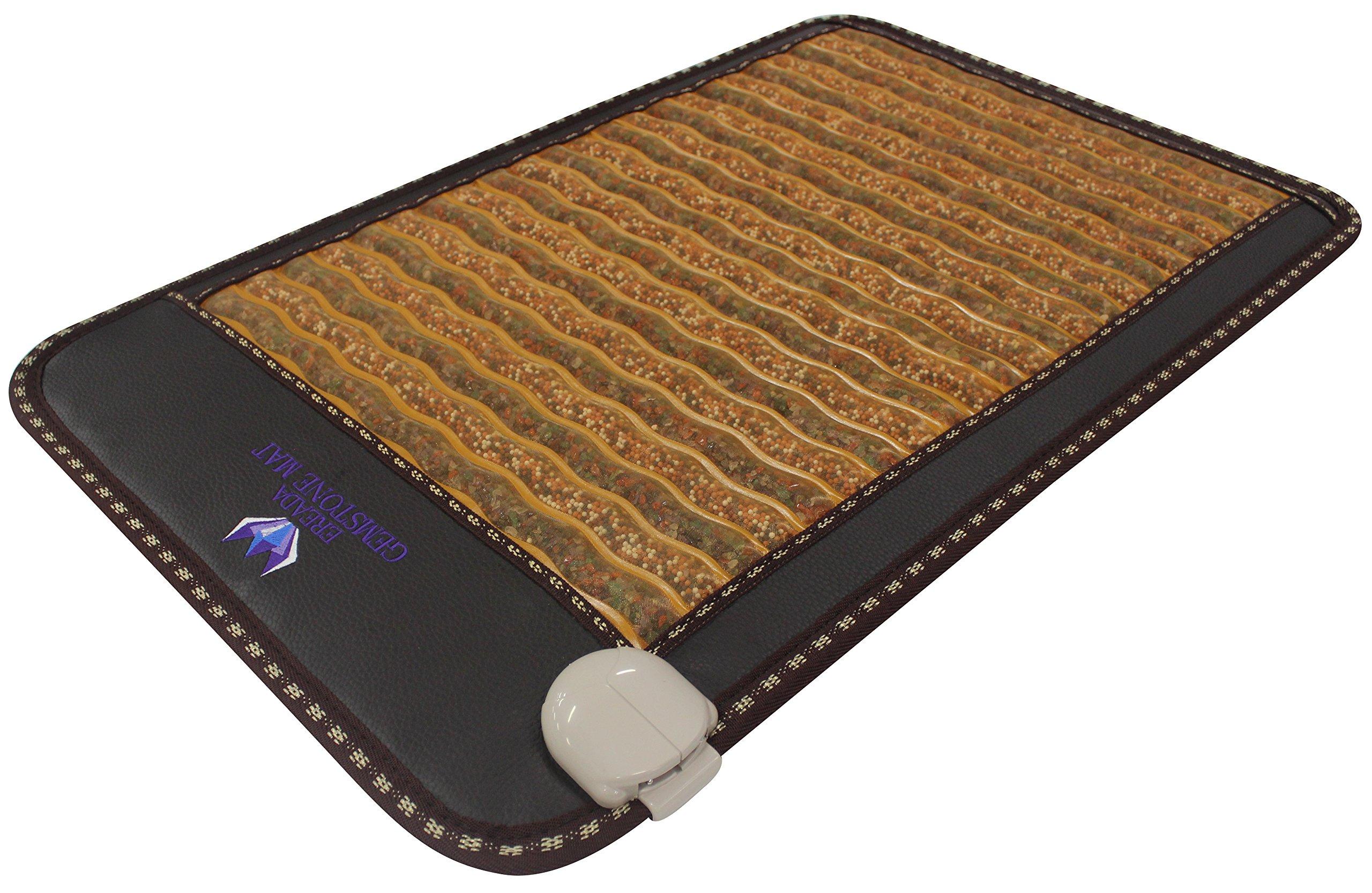 "Far Infra-Red Gemstone Mini Mat 31''L x 20""W - Made in Korea - Amethyst - Agate - Chalcedony - Garnet - Tourmaline - FIR Heating Pad - Negative Ion - Bio Magnetic Therapy - FDA Registered Manufacturer"