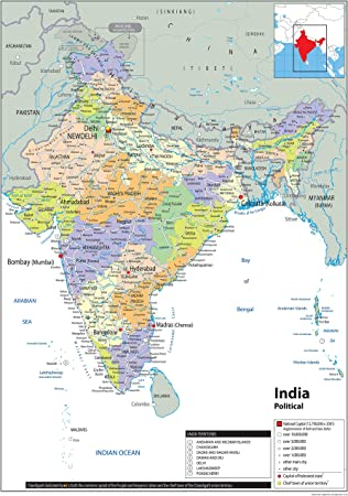 Cartina India.India Political Map Paper Laminated A0 Size 84 1 X 118 9 Cm Amazon Co Uk Office Products