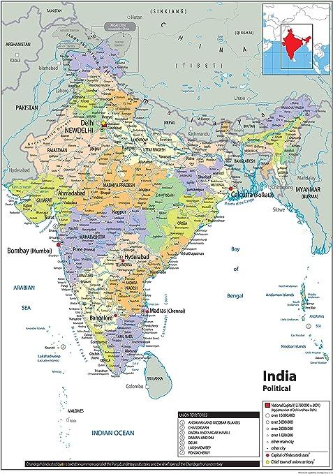 Cartina Dell India Politica.India Mappa Politica Carta Plastificata Ga A1 Size 59 4 X 84 1 Cm Amazon It Cancelleria E Prodotti Per Ufficio