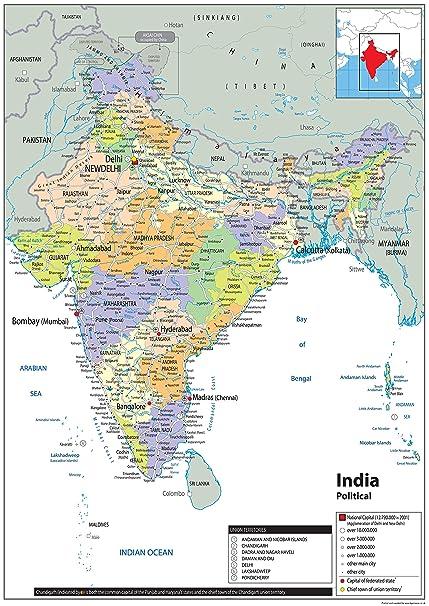 Cartina India Hd.India Mappa Politica Carta Plastificata Ga A1 Size 59 4 X 84 1