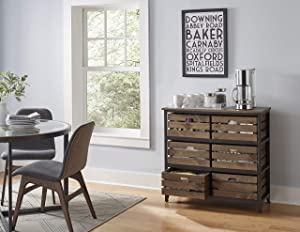 Martin Furniture Sullivan Rustic Storage Chest with Removable Wood, Accent Cabinet, Bookcase, Crate Style Drawers, Brown, 6