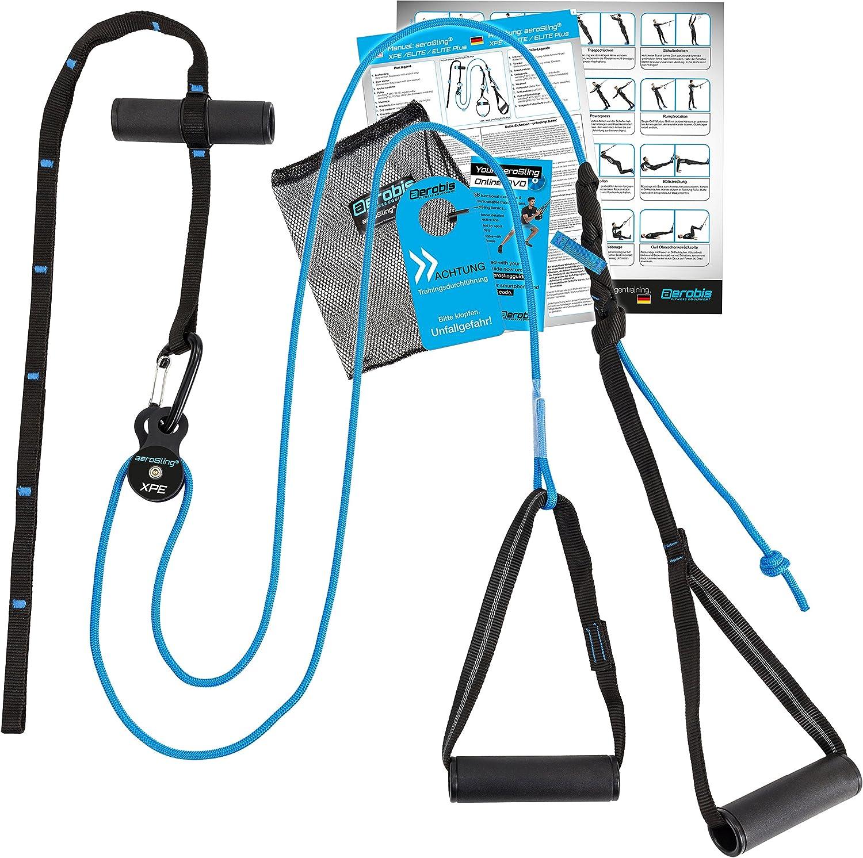 aeroSling XPE, Entrenador de suspensión Ultra-ligero y compacto, Para interiores y exteriores, Incluye DVD-online, Horario de entrenamiento, Póster de ...