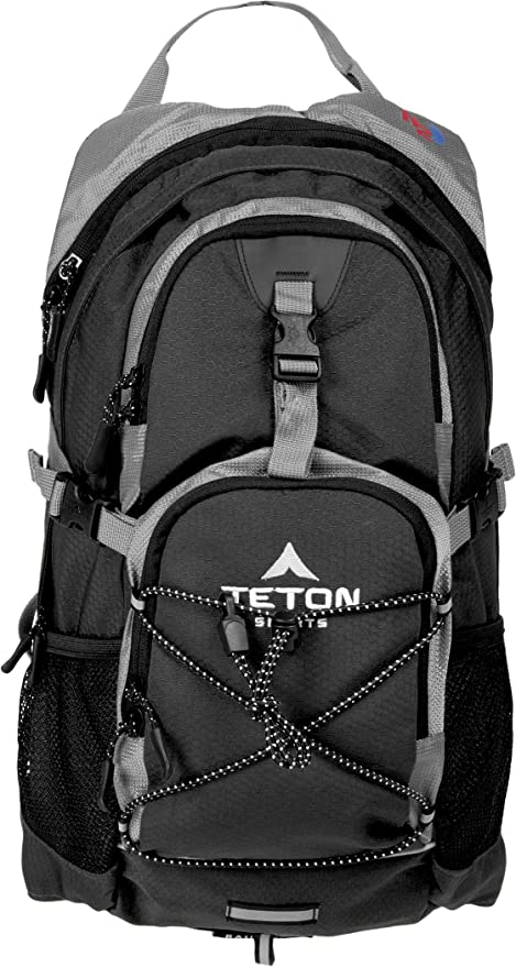 TETON Sports Oasis 1100 2 Liter Hydration Backpack; Day Pack Perfect for Hiking, Running, Cycling, Biking, Climbing, and Hunting; 2 L Water Bladder Included; Sewn-in Rain Cover; Black