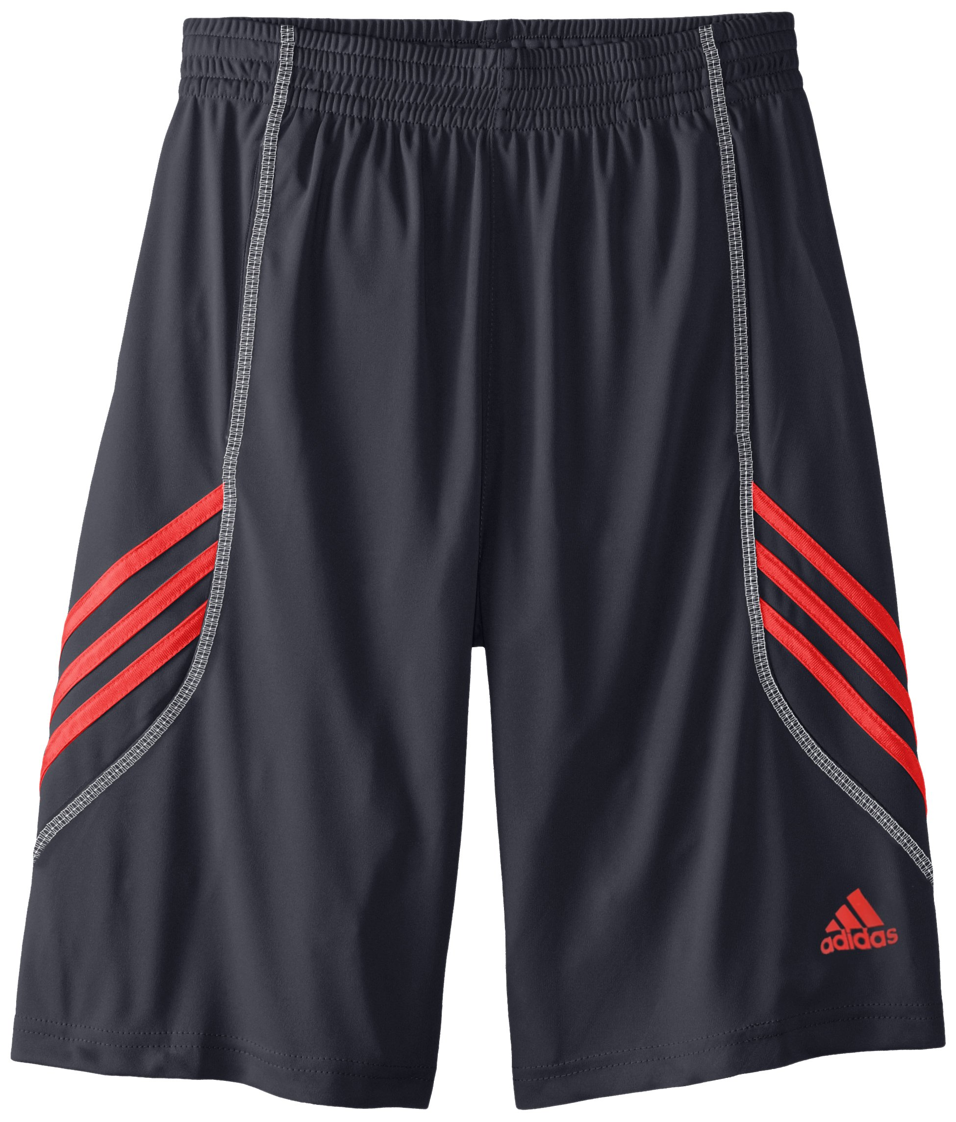 adidas Big Boys' Basics Short, Black/Scarlet, Medium