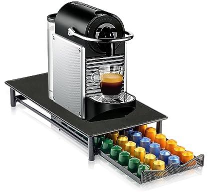 Cajón Dispensador de Cápsulas de Café y Soporte para Máquina de Café Nespresso en Color Negro