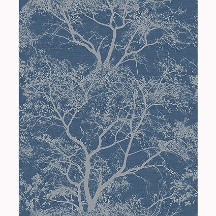 Holden Decor Whispering Trees Dark Blue Wallpaper 65402 Textured Glitter