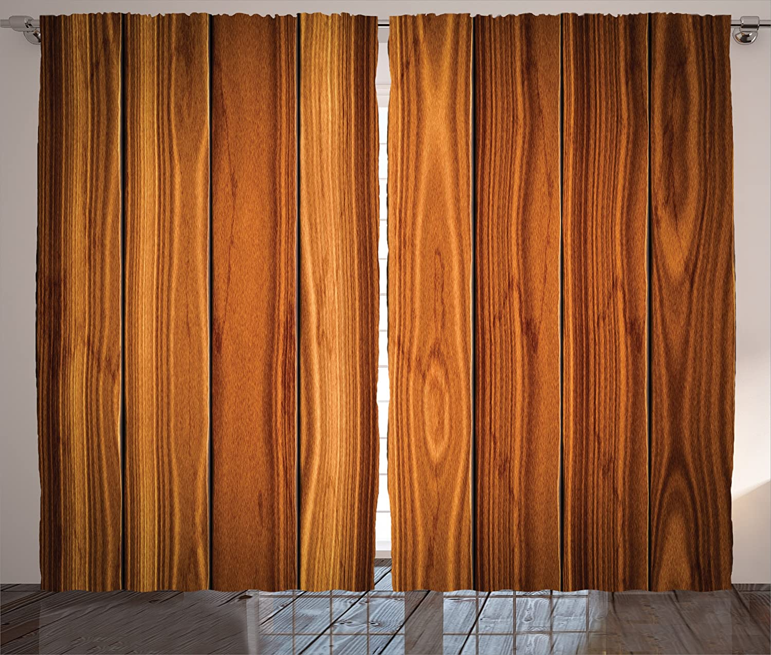 Ambesonne Rustic Curtains, Vertical Wooden Planks Image Cottage Cabin Life  in Countryside Theme, Living Room Bedroom Window Drapes 2 Panel Set, 108\