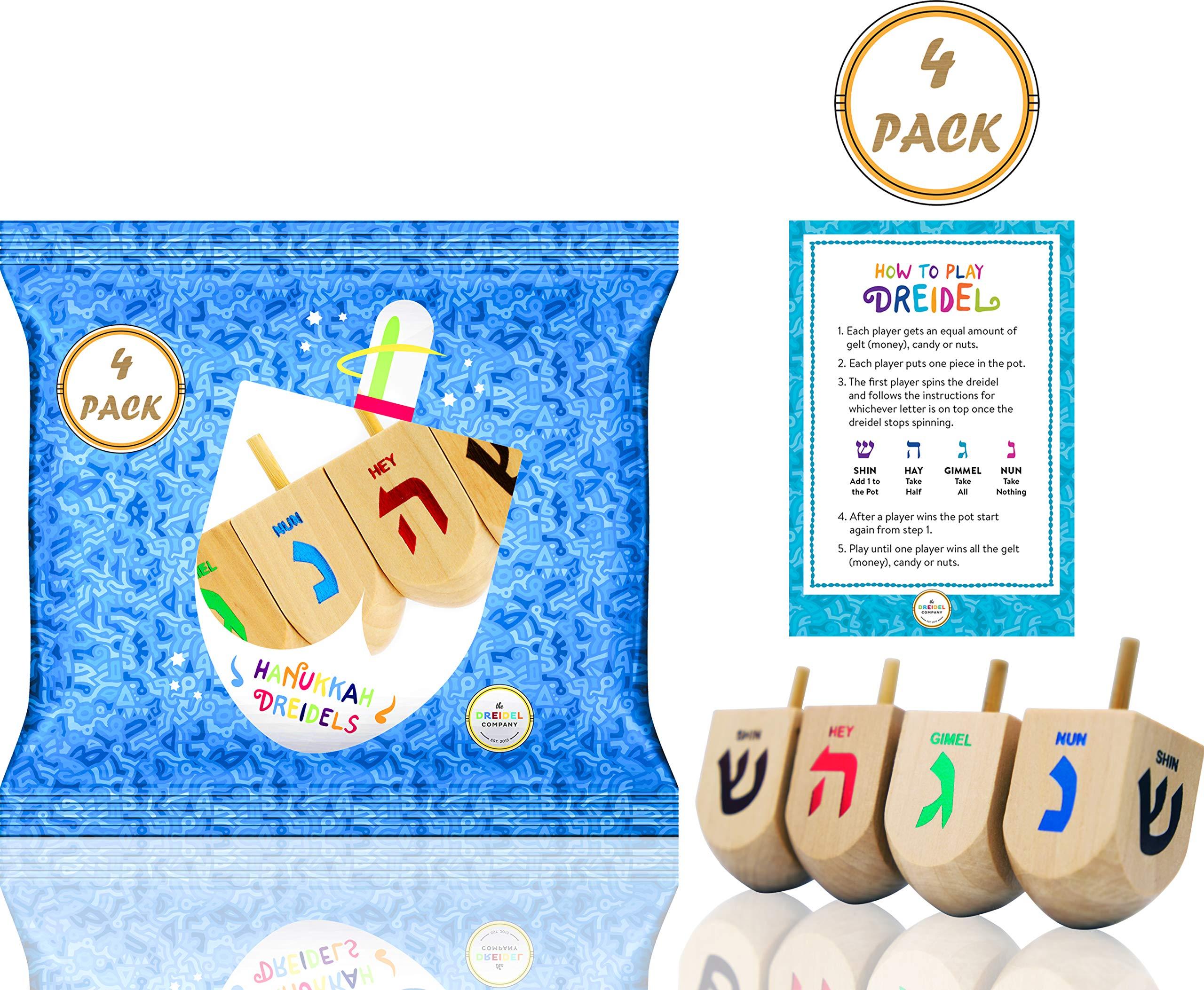 Hanukkah Dreidel Extra Large Wooden Dreidels Hand Painted - Includes Game Instruction Cards! (4-Pack XL Dreidels)