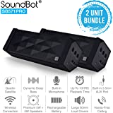 SoundBot SB571PRO Bluetooth QUADIO Satellite Portable Wireless Speaker w/ Multi-Unit Multi-Point Connectivity, Master/Slave Simultaneous Surround Sound, HD 5W+5W Acoustic 50mm Driver - 2PK BUNDLE SET