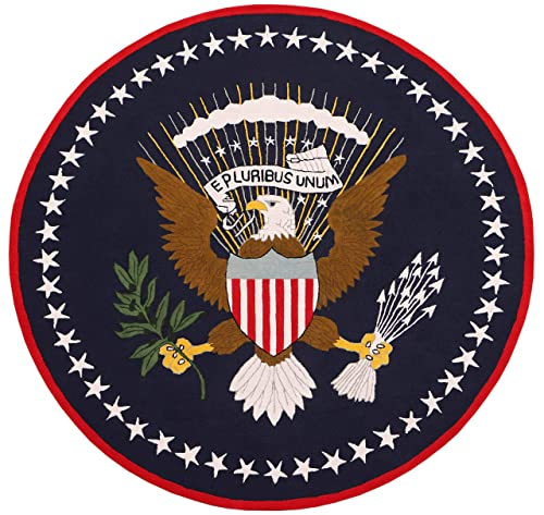 US Logo Flag 8 x8 Eagle Pluribus President Handmade Tufted 100 Woolen Round Rugs Carpet