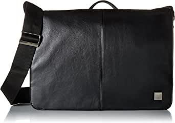 "Knomo Brompton Classic Bungo, 15.6"" Expandable Leather Laptop Messenger Bag, with Adjustable Straps and RFID Pocket, Black"