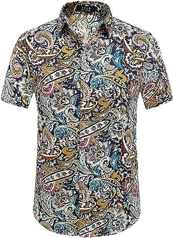 SSLR Camisa Hombre Manga Corta Regular Fit Algodón Estilo Hawaiano