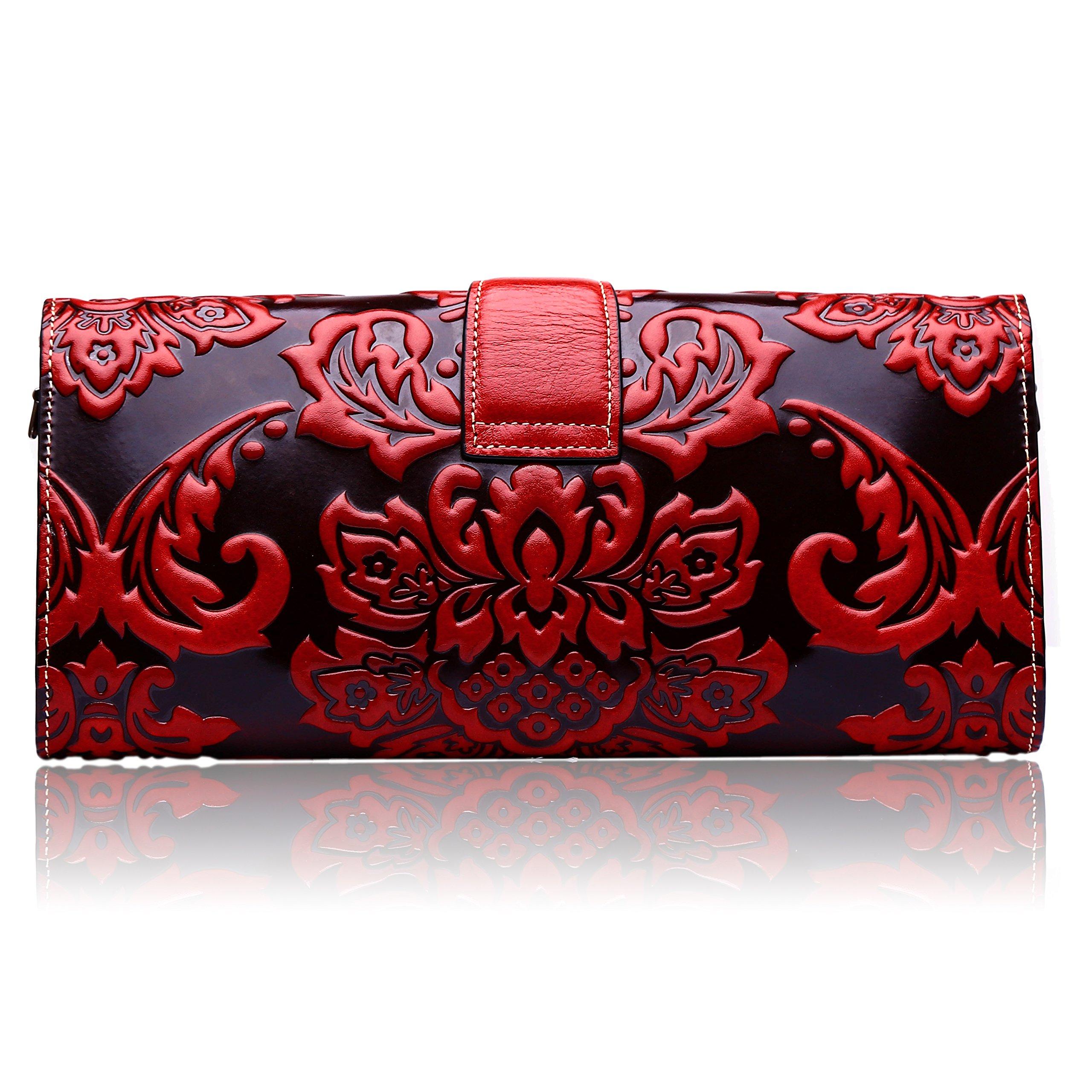 Naisibao Vintage Floral Artisan Leather Handmade Clutch Convertible Crossbody Designer Gift for Women by Naisibao (Image #3)