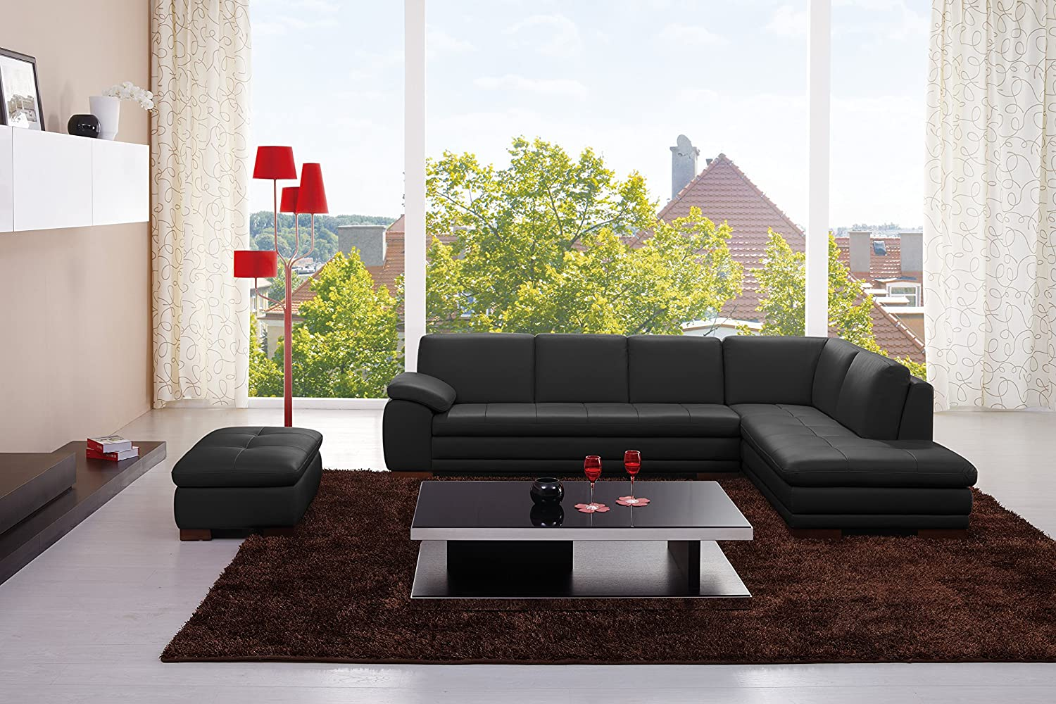 J and M Furniture 625 Italian Leather Sectional Black