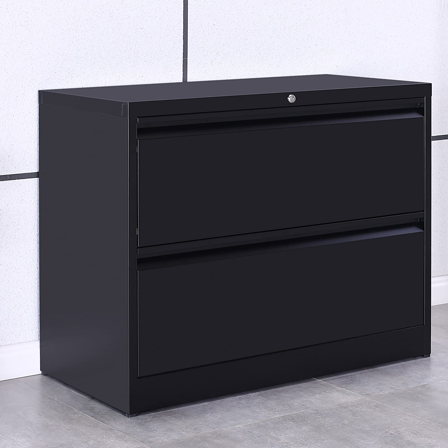 ModernLuxe Lateral File Cabinet 2-Drawer with Lock and Key (Black)