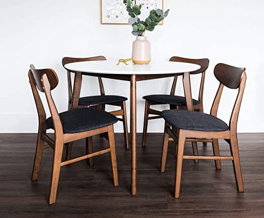 Amazon Com Edloe Finch 5 Piece Round Dining Table Set For 4 White Top Furniture Decor