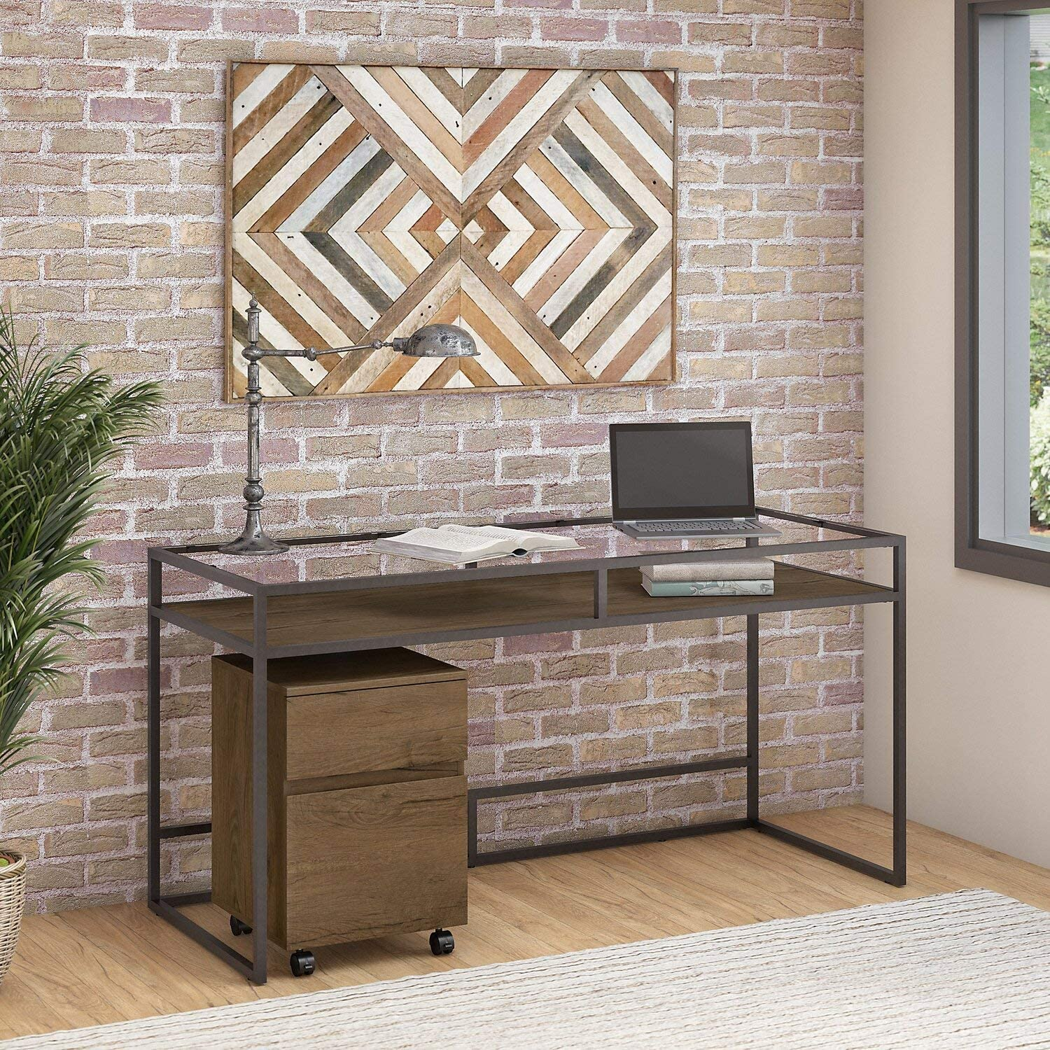 Bush Furniture Anthropology 60W Glass Top Writing Desk with 2 Drawer Mobile File Cabinet in Rustic Brown