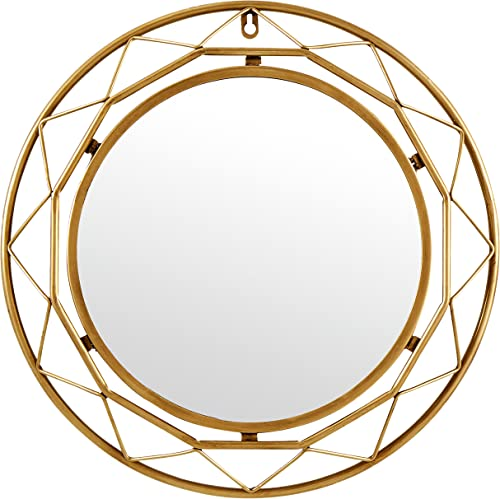 Amazon Brand Rivet Modern Metal Lattice-Work Round Hanging Wall Mirror, 18 Inch Height, Gold Finish