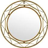 Rivet Modern Metal Lattice-Work Round Hanging Wall Mirror, 18 Inch Height, Gold Finish
