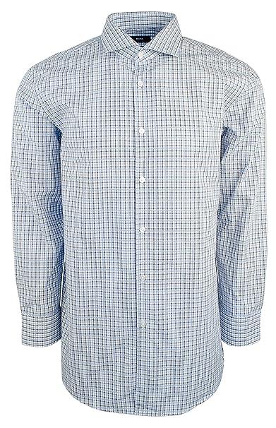 feaa8b81c Amazon.com: Hugo Boss Men's Sharp-Fit Cotton Button Down Shirt-B-17-32/33  Blue: Hugo Boss: Clothing