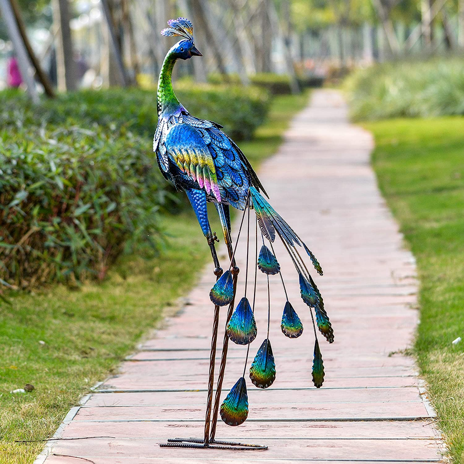 TERESA'S COLLECTIONS 35inch Metal Decorative Peacock Standing Art Garden Sculpture Decor, Garden Statue Artwork Indoor Outdoor for Backyard Porch Home Patio Lawn Decorations