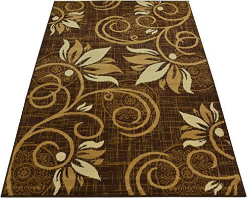 Normian Collection Flowers Floral Design Area Rug Rugs Area Rug 6 Color Options Brown Beige