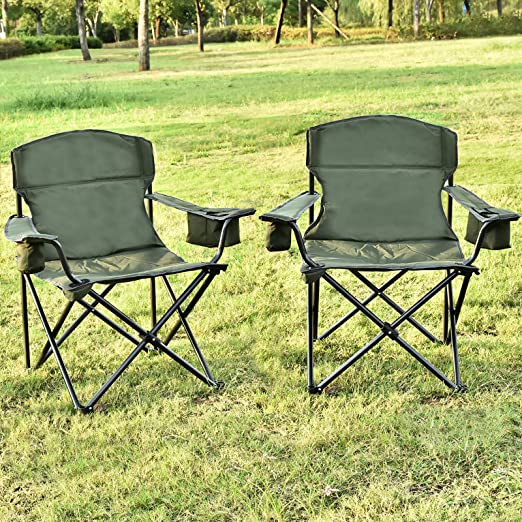 Oversized Folding Camping Chair Portable Padded Quad Arm Chair with Cup Holder Fishing Camp Chair for Outdoor USSerenaY Camping Chair with Cooler Carry Bag Collapsible Steel Frame Beach