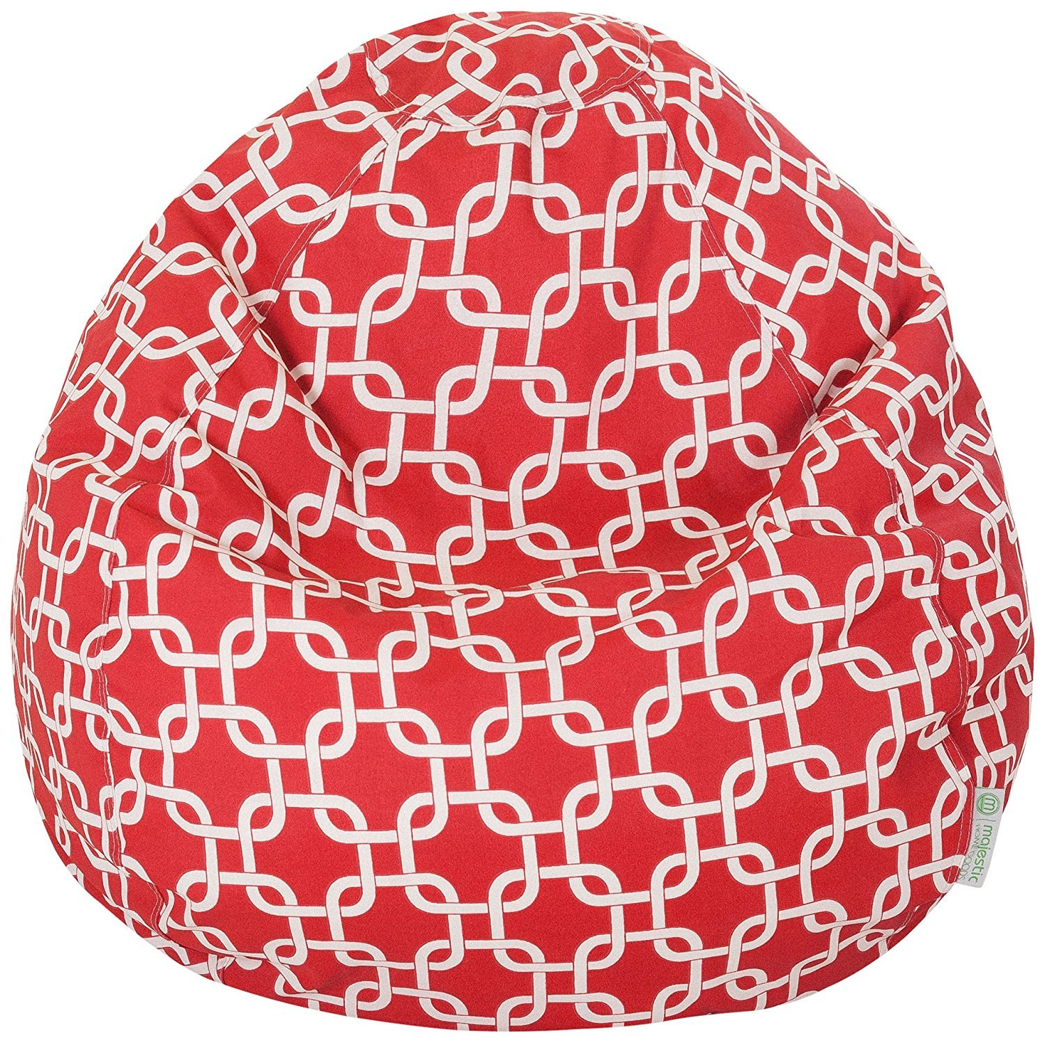 Majestic Home Goods Classic Bean Bag Chair - Links Giant Classic Bean Bags for Small Adults and Kids (28 x 28 x 22 Inches) (Red)