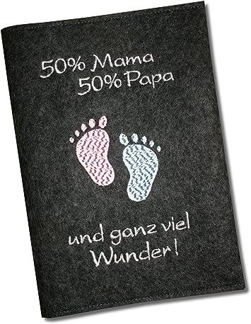 Mutterpassh/ülle 50/% Mama 50/% Papa ...und ganz viel Wunder aus Wollfilz Anthrazit nur passend f/ür den deutschen Mutterpass!