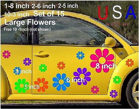 Amazon Com Large Flowers Set 15 10 Free Usa Decal Stickers Car