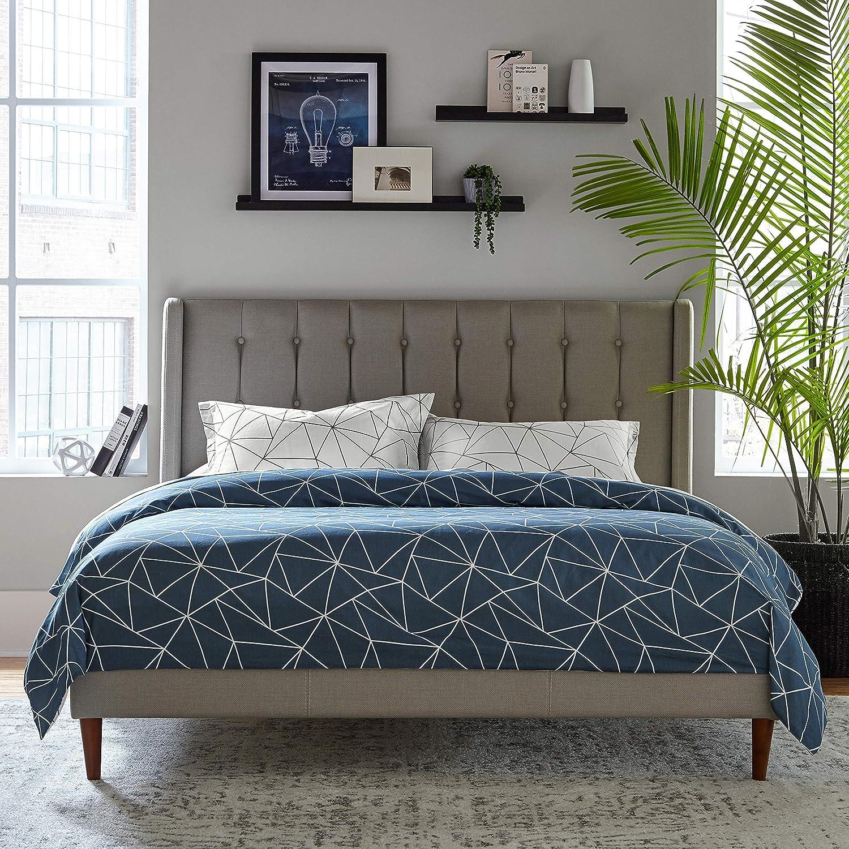 Rivet Triangle Geometric Cotton Duvet Cover Set, Easy Care, King, Navy