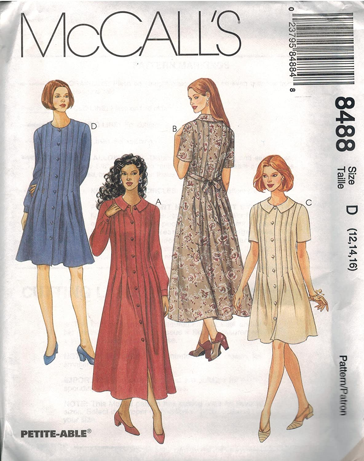 8488 McCalls Sewing Pattern Uncut Misses Loose Fitting Dress Size 4 6 8