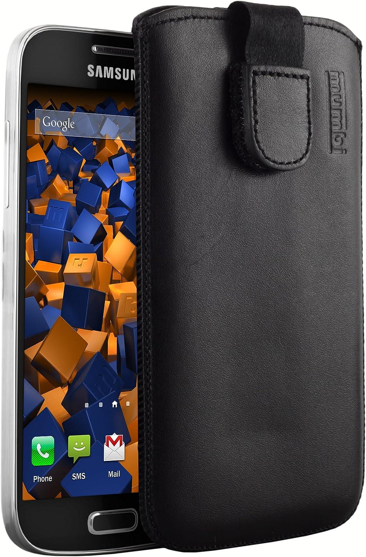Mumbi - Funda de piel con pestaña para Samsung Galaxy S4 mini, color negro: Amazon.es: Electrónica