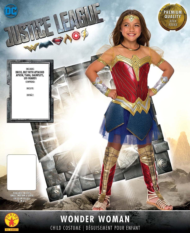 3eb108a8a5b Rubie's Costume Girls Justice League Premium Wonder Costume, Small,  Multicolor